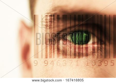 Composite image of Bar code against close up human eye