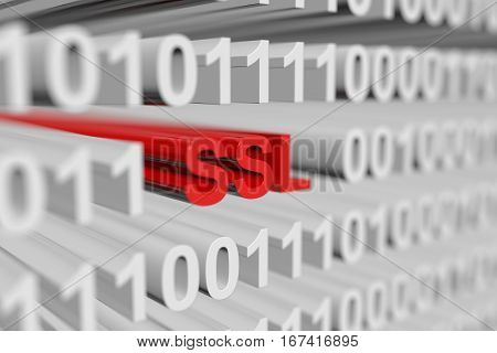 SSL in the form of a binary code with blurred background 3D illustration