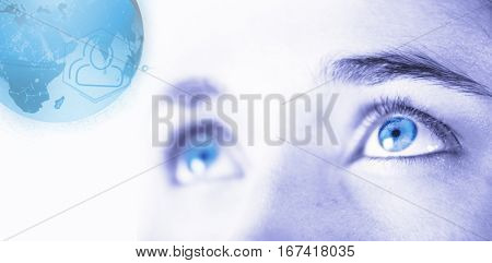 Digitally generated image of earth with social connectivity against close up of woman with brown eyes