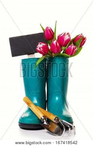 Spring or Summer Concept. Rubber Boots with Gardening Tools on White Isolated Background.