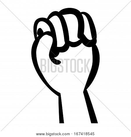 silhouette hand with clenched fist vector illustration