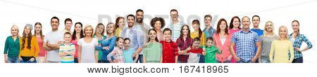 diversity, race, ethnicity and people concept - international group of happy smiling men and women over white background