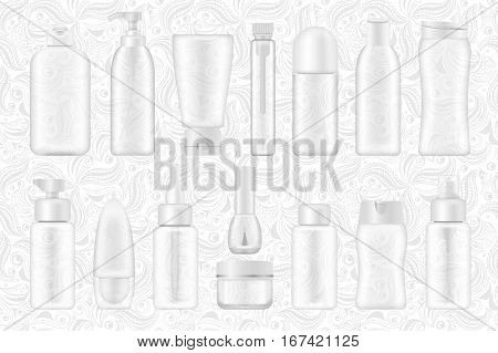 Blank cosmetic package collection isolated on white ornamental background. Set of transperent tube for cream, shampoo, lotion, emulsion, deodorant, skin oil. nail polish, hear styling vector mock ups