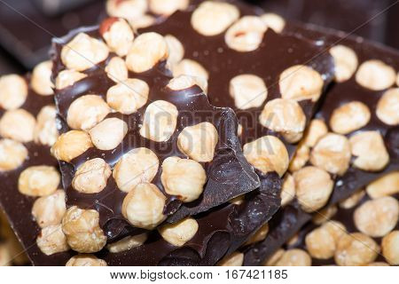 Pieces Of Chocolate With Hazelnuts