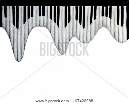 watercolor sketch of piano keyboard on white background