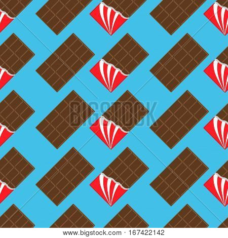 Milk dark chocolate bar icon. Opened red foil. Modern simple style. Seamless Pattern Wrapping paper textile template. Blue background. Flat design. Vector illustration.