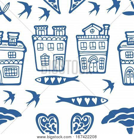 Seamless pattern with typical portuguese houses sardines flowers and swallows. Vector illustration