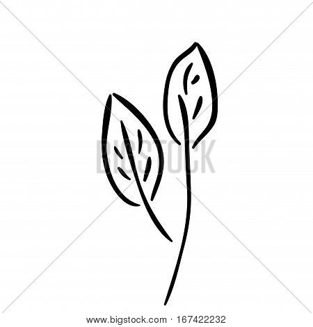 silhouette leaves with ramifications icon flat vector illustration