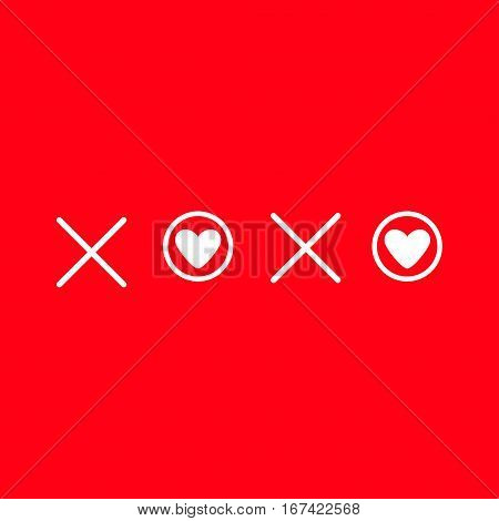 Xoxo Hugs and kisses Sign symbol mark Love card White heart Word text lettering. Flat design Red background Isolated. Vector illustration
