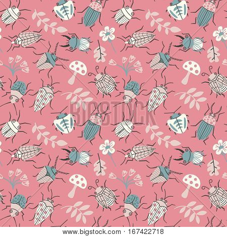 Seamless pattern with cute small beetles and plants. Summer bugs doodle style background. Vector cartoon backdrop with funny insects flowers and leaves.
