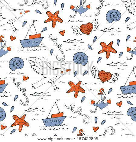 Colorful seamless sea pattern with seagulls shells and starfishes. Illustration in vector format