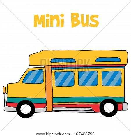 Cartoon mini bus collection stock vector illustration