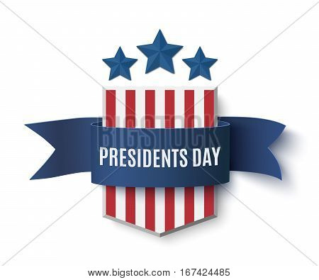 Presidents Day  background template. Badge with blue isolated on white . Vector illustration.