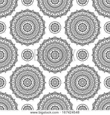 Mandala. Coloring page. Vector seamless pattern with ethnic tribal mandala. Hand drawn doodle mandala with ornament. Anti stress coloring page for adult coloring book.Outline.