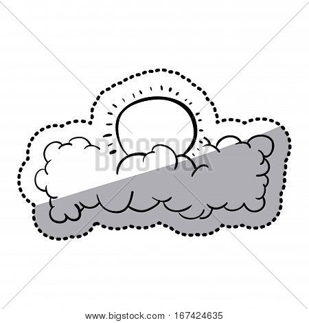 sticker silhouette clouds in heaven with sun vector illustration