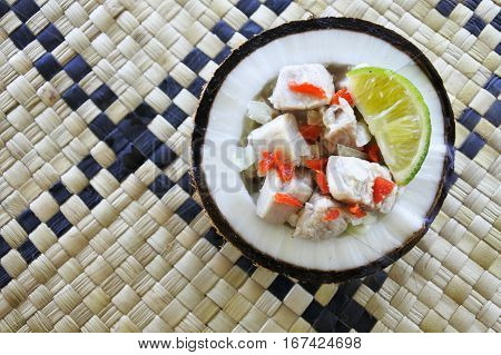 Flat Lay View Of Fijian Food, Kokoda (raw Fish Salad)
