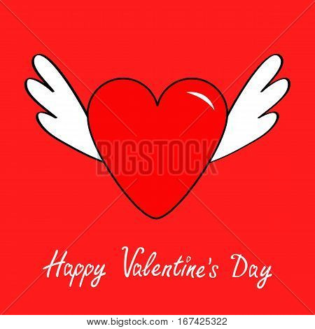Happy Valentines Day. Big heart with wings. Cute cartoon contour sign symbol. Winged shining angel hearts. Flat design style. Love greeting card. Isolated. Red background. Vector illustration