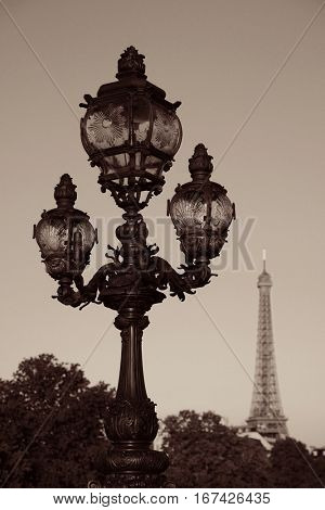Vintage lamp post and Eiffel Tower on Alexandre III bridge in Paris, France.