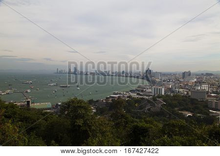 View of the sea city from height of bird's flight
