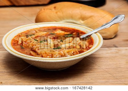 Traditional and very popular slovakian soup from beef tripe