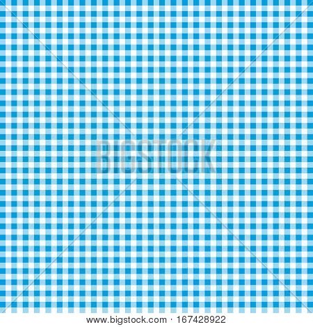 Blue and white gingham background texture. Vector illustration