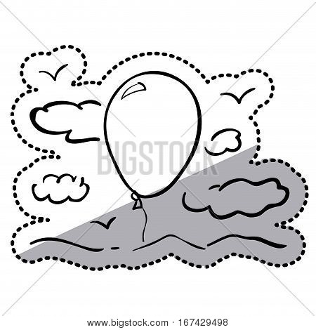 sticker silhouette clouds with air balloon vector illustration