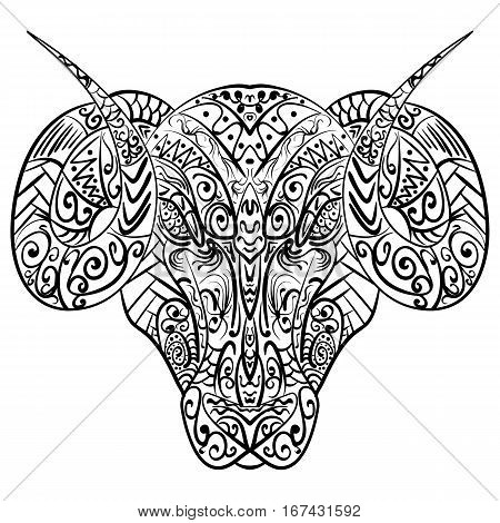 Zentangle stylized cartoon goat ram head Hand drawn sketch adult antistress coloring page zentangle vector illustration