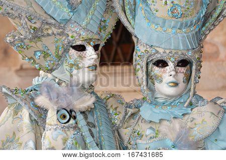 VENICE, ITALY - FEBRAURY 1: Carnival of Venice two beautiful masks  FEBRUARY 1, 2016 in Venice, Italy