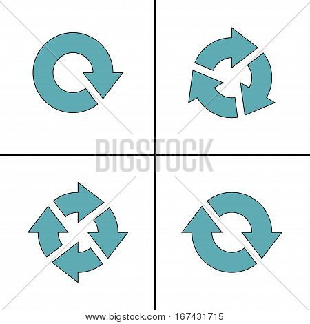 Four arrow pictogram refresh reload rotation loop sign set. Simple icon on white background. Mono solid plain flat minimal style. Vector illustration