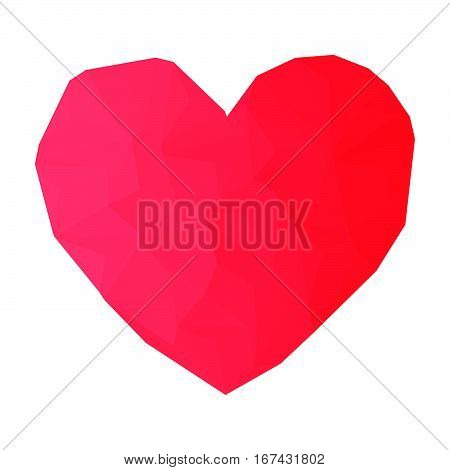 Red heart drawn in triangulation style for Valentine day or medicine.