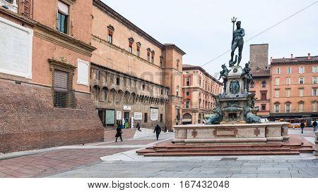 Piazza Del Nettuno With Fountain In Bologna