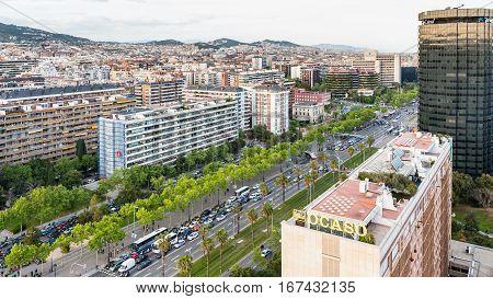 Above View Of Avinguda Diagonal In Barcelona