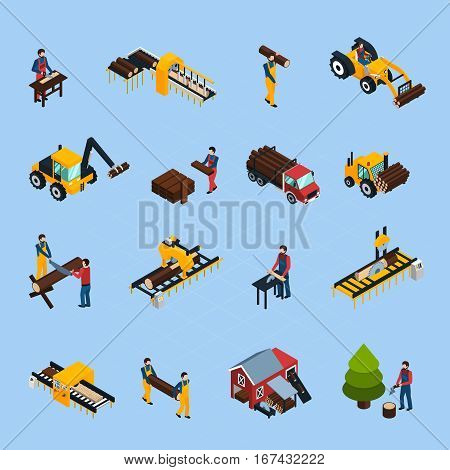 Sawmill isometric icons set of woodworking machinery working loggers and vehicles for timber transportation isolated vector illustration