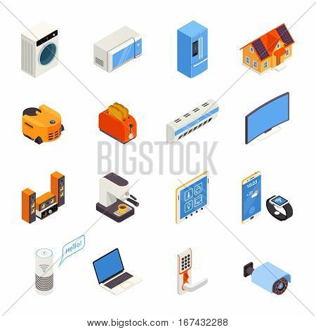 Internet of things smart home elements isometric icons collection with kitchen appliances and cell phone isolated vector illustration