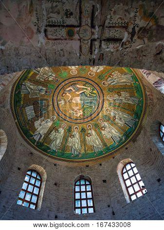 Interior Of Arian Baptistery In Ravenna City
