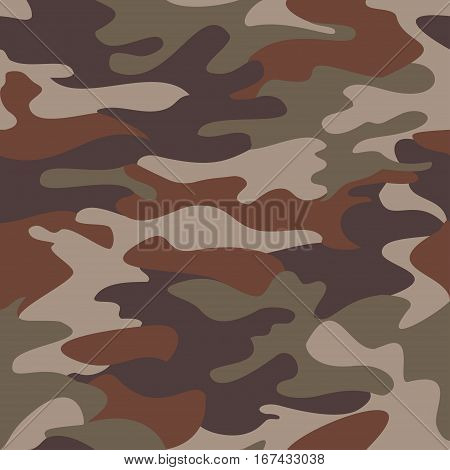 Camouflage pattern background seamless clothing print repeatable camo glamour vector. Olive brown gray
