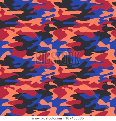 Camouflage pattern background seamless clothing print repeatable camo glamour vector. Red blue coral navy