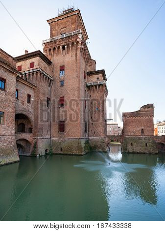 Moated Castello Estense In Ferrara City
