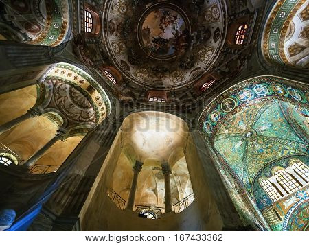 Decor Of Basilica San Vitale In Ravenna City