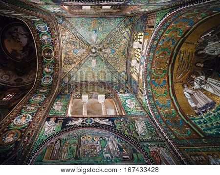 Mosaic In Basilica San Vitale In Ravenna City
