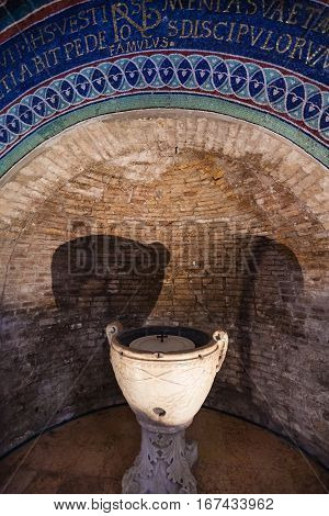 Marble Bowl In Neoniano Baptistery In Ravenna
