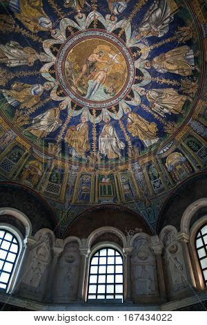 Mosaic Of The Neoniano Baptistry In Ravenna City