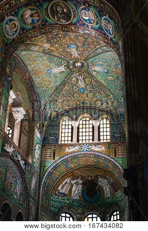 Inside Of Basilica San Vitale In Ravenna City
