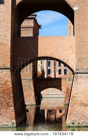 Bridges Of Castel Estense In Ferrara In Sunny Day