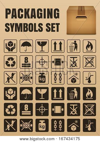 Packaging symbols set including Fragile Handle with care Keep dry This side up Flammable Recycled Package weight Do not litter Max stack Clamp and Sling here Protect from heat and others