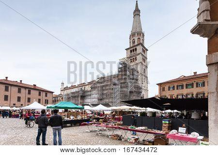 Outdoor Market On Piazza Grande In Modena City