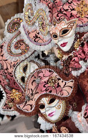 VENICE, ITALY - FEBRAURY 1: Carnival of Venice three beautiful masks FEBRUARY 1, 2016 in Venice, Italy