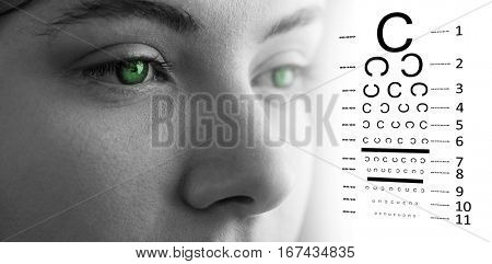 eye test against beautiful eye of woman