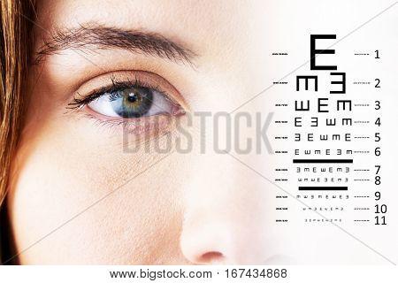 eye test against portrait of beautiful woman