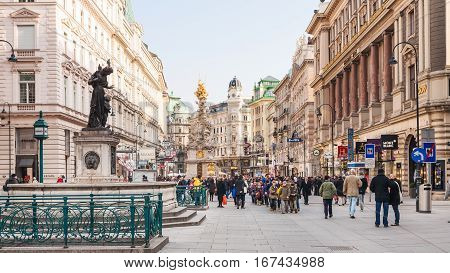 Graben Street With Plague Column In Vienna